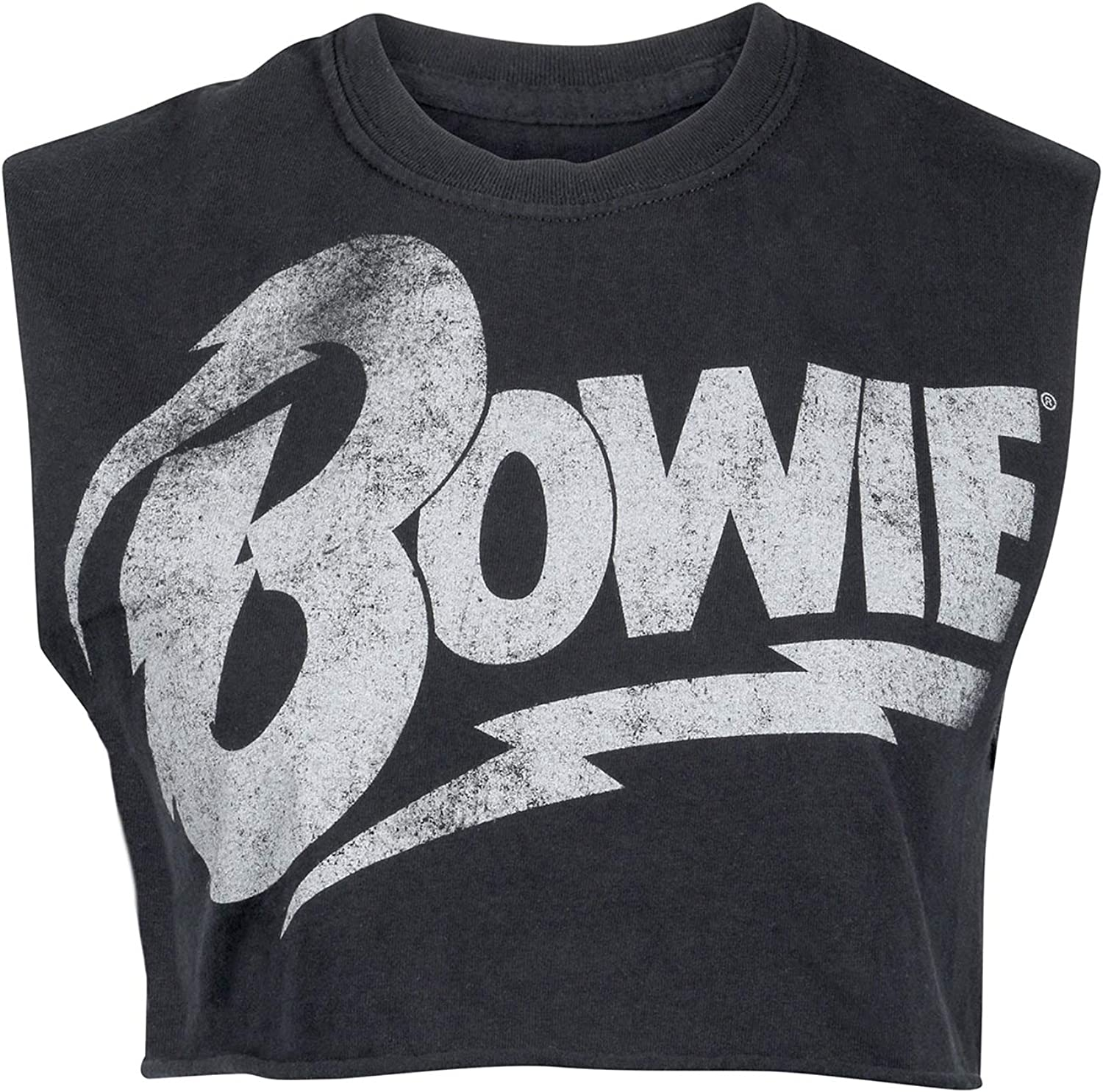 Goodie Two Sleeves Womens Black David Bowie Cropped Tee Band T-Shirt