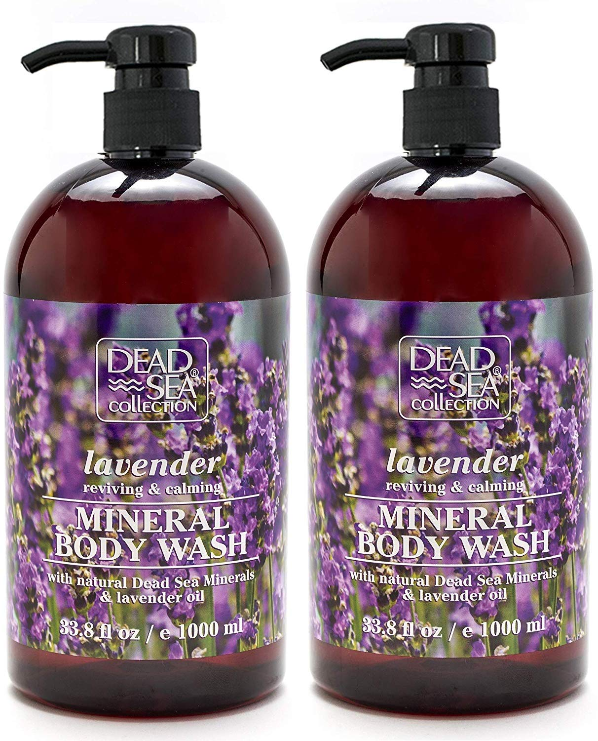 Dead Sea Collection Mineral Body Wash with Lavender Oil Reviving and Calming 67.6 fl.oz Set of 2 : Beauty