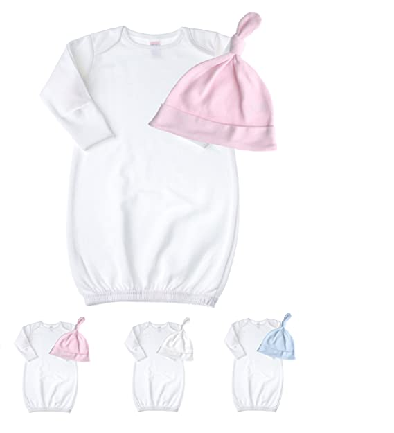 Amazon.com: Newborn Baby Cotton Sleeper Gown & Tie Knot Hat Set ...