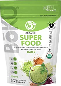 BoKU Superfood Powder - 55-in-1 Organic Superfood 9.5 oz - Kosher and Gluten-Free Super Green Food with Antioxidants - 30 Servings