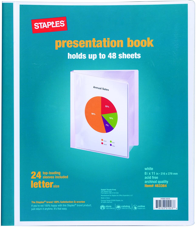 staples presentation binder 24 sleeve capacity