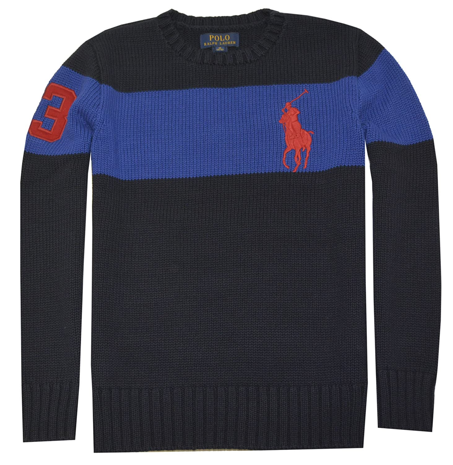 Polo Ralph Lauren Boys Big Pony Cotton Sweater Hunter Navy)
