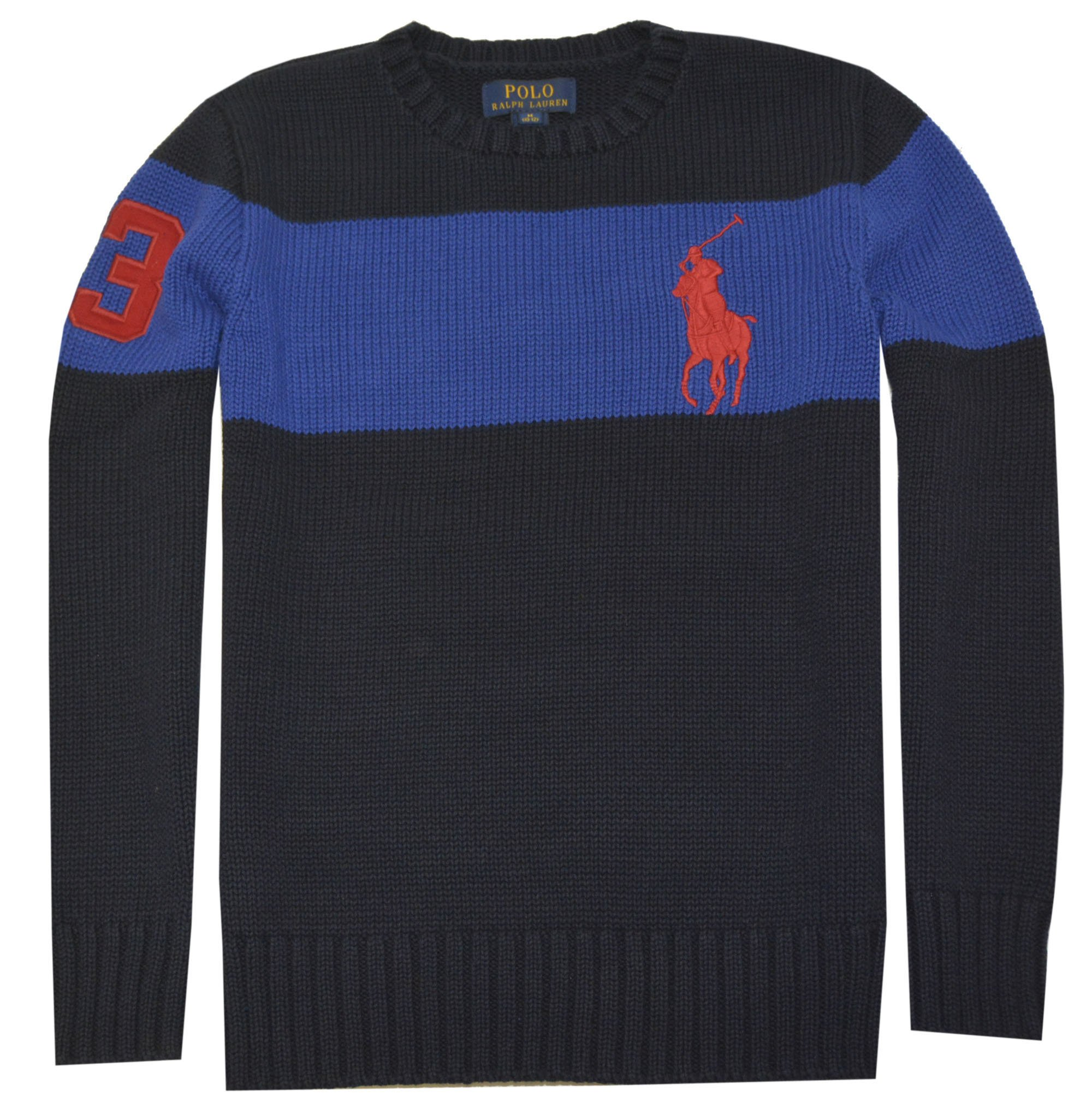 Polo Ralph Lauren Boys Big Pony Cotton Sweater (L(14-16), Hunter Navy)