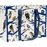 """Blue Q Bags, Shoulder Tote, Birdland, made from 95% recycled material, hefty zipper, exterior patch pocket, 11""""h x 15""""w x 6.25""""d"""