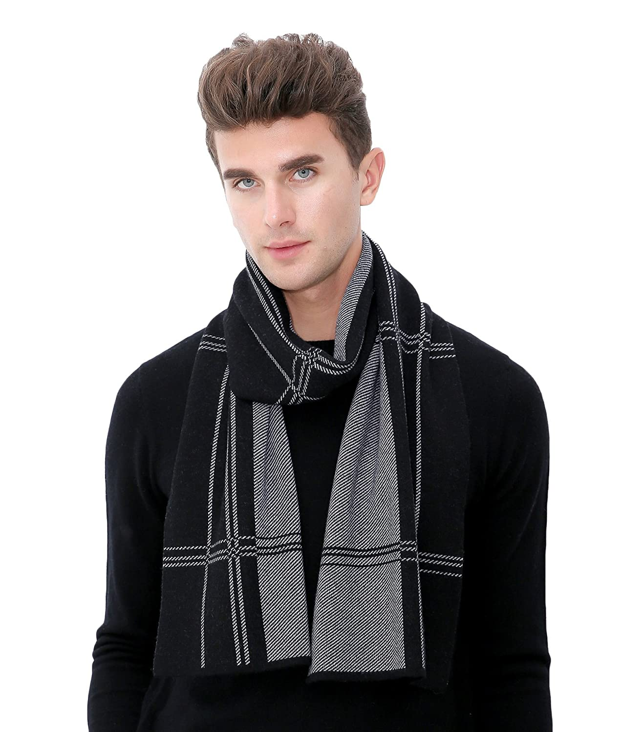 RIONA Men's Australian Merino Wool Plaid Knitted Scarf - Soft Warm Gentleman Neckwear with Gift Box RIW9136Black