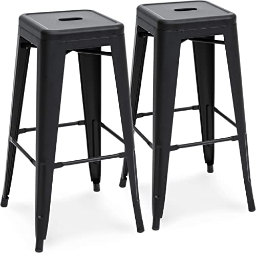 Best Choice Products 30in Set of 2 Modern Industrial Backless Metal Counter Height Bar Stools – Matte Black
