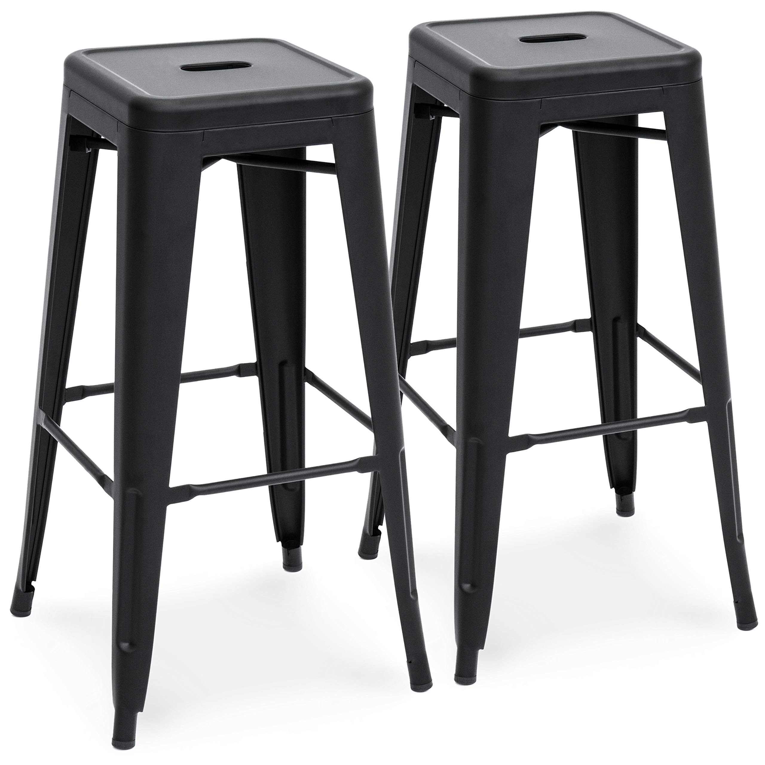 Best Choice Products 30in Set of 2 Modern Industrial Backless Metal Counter Height Bar Stools - Matte Black by Best Choice Products