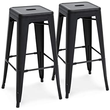 Best Choice Products 30in Metal Modern Industrial Bar Stools w/Drainage Holes for Indoor/Outdoor Kitchen, Island, Patio, Set of 2, Matte Black