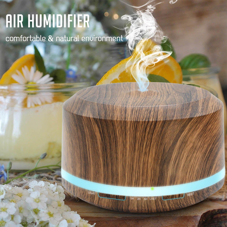 Essential Oil Diffuser 450ml, Wood Grain Aromatherapy