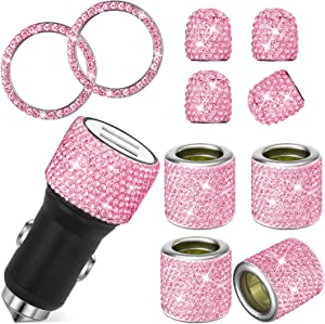 11 Pieces Rhinestone Car Accessories, Crystal Rhinestone Ring Dual USB Car Charger Car Headrest Collars Rings Decor Bling Valve Stem Caps Rhinestone Tire Caps for Universal Cars (Pink)