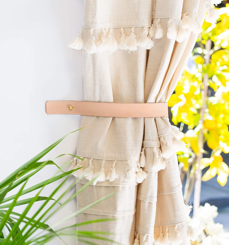 Minimalist leather curtain hold back modern window treatments mid century curtain tie back home accents curtain loop farmhouse decor wedding