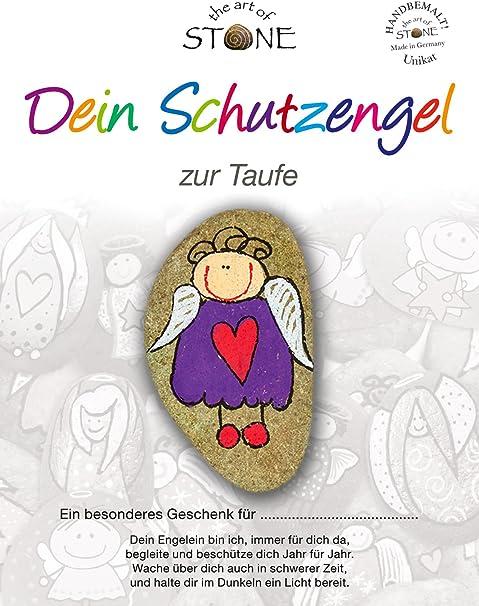 The Art Of Stone Dein Schutzengel Zur Taufe Naturstein Handbemalt Unikat Glücksbringer Mutmacher Und Trostspender Zugleich