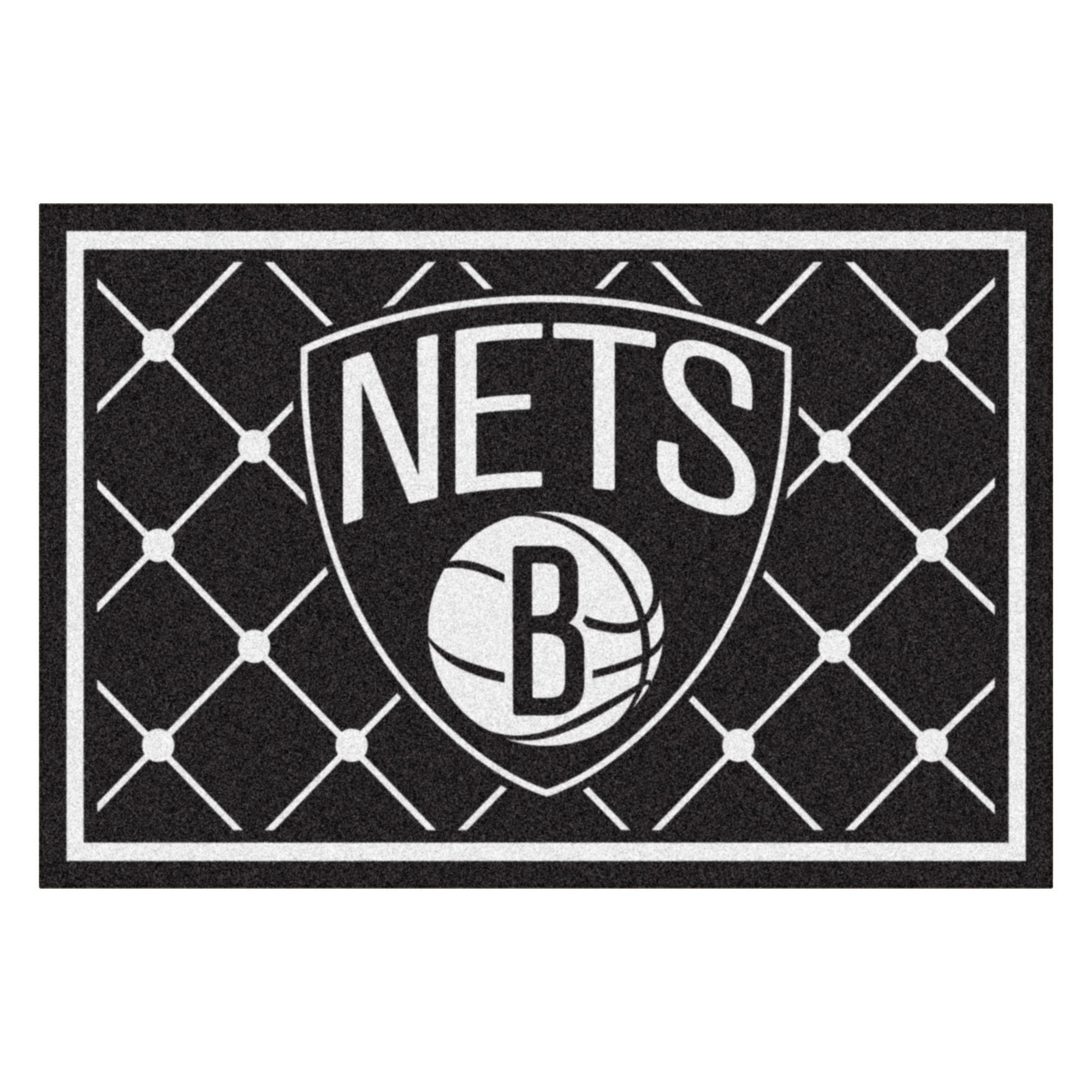 FANMATS NBA Brooklyn Nets Nylon Face 5X8 Plush Rug