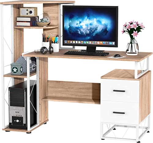 HOMCOM 52″ Modern Multi-Level Computer Desk Home Office Study Workstation