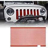 Xprite Red Aluminum Alloy Mesh Grill Inserts for 2007-2018 Jeep Wrangler JK JKU Original Front Hood Matte Grille Grid