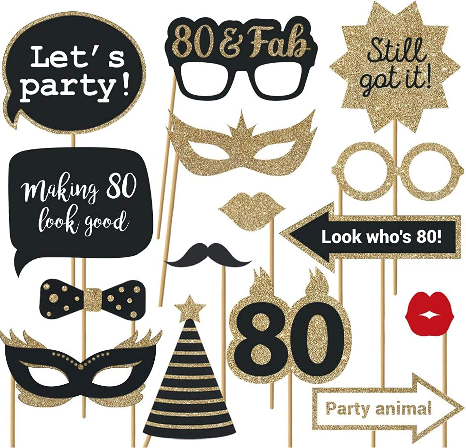 Fully Assembled 80th Birthday Photo Booth Props - Set of 30 - Black & Gold Selfie Signs - 80th Party Supplies & Decorations - Cute 80th Bday Designs with Real Glitter - Did we mention no DIY?