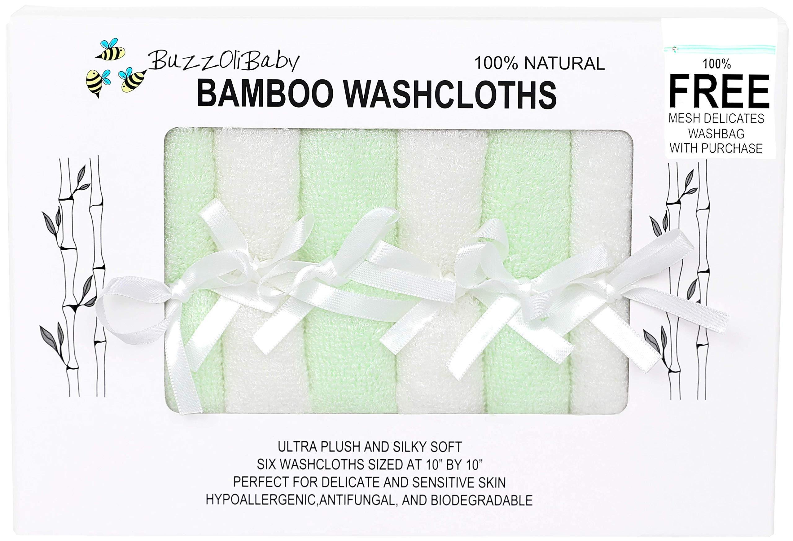 BuzzOliBaby 6 Ultra Soft Baby Bath Washcloths, Rayon from 100% Organic Bamboo, Extra Absorbent 10''X10'' Newborn Towels for Boys and Girls with Free Wash Bag, Perfect for Baby Gifts and Registry