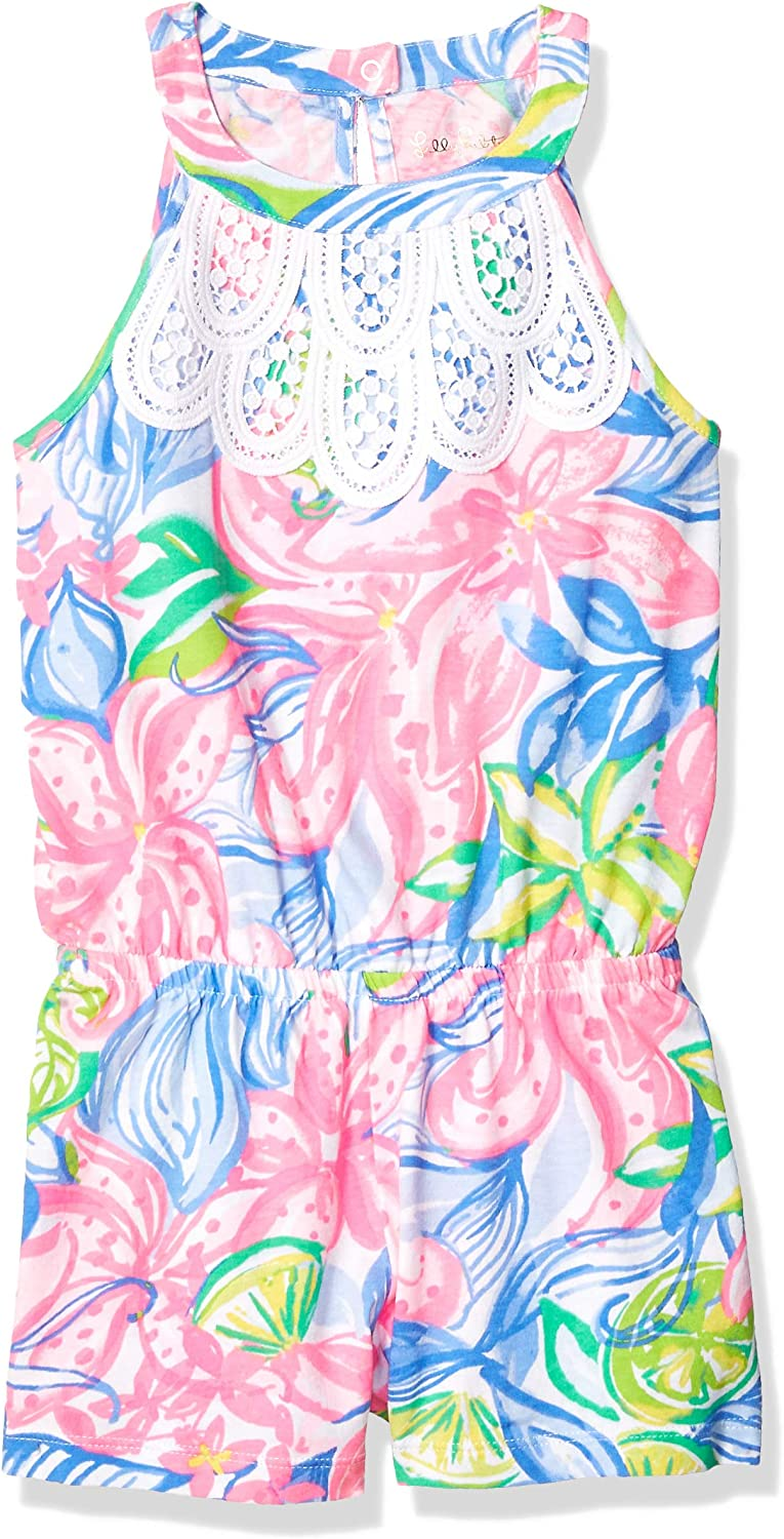 Lilly Pulitzer Girls Big Mini Pearl Romper Multi Havana Cocktail