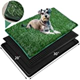 Dog Grass Large Pet Loo Indoor/Outdoor Portable Potty, Artificial Grass Patch Bathroom Mat for Puppy Training, Full System wi