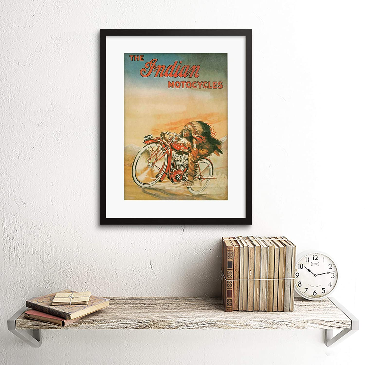 AD Indian Motorcycles Transport Bike RED Chief Art Frame Print Picture F12X087