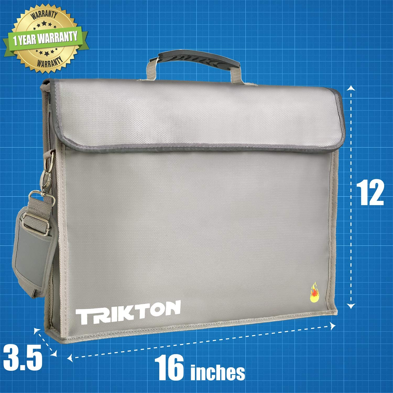 X-Large Visible in The Dark with TSA-Lock XL Silver Fire and Water-Resistant Safe Briefcase Trikton Fireproof Document Bag Stores Bulky Binders Without Fold Them Money Bag 15x12x3
