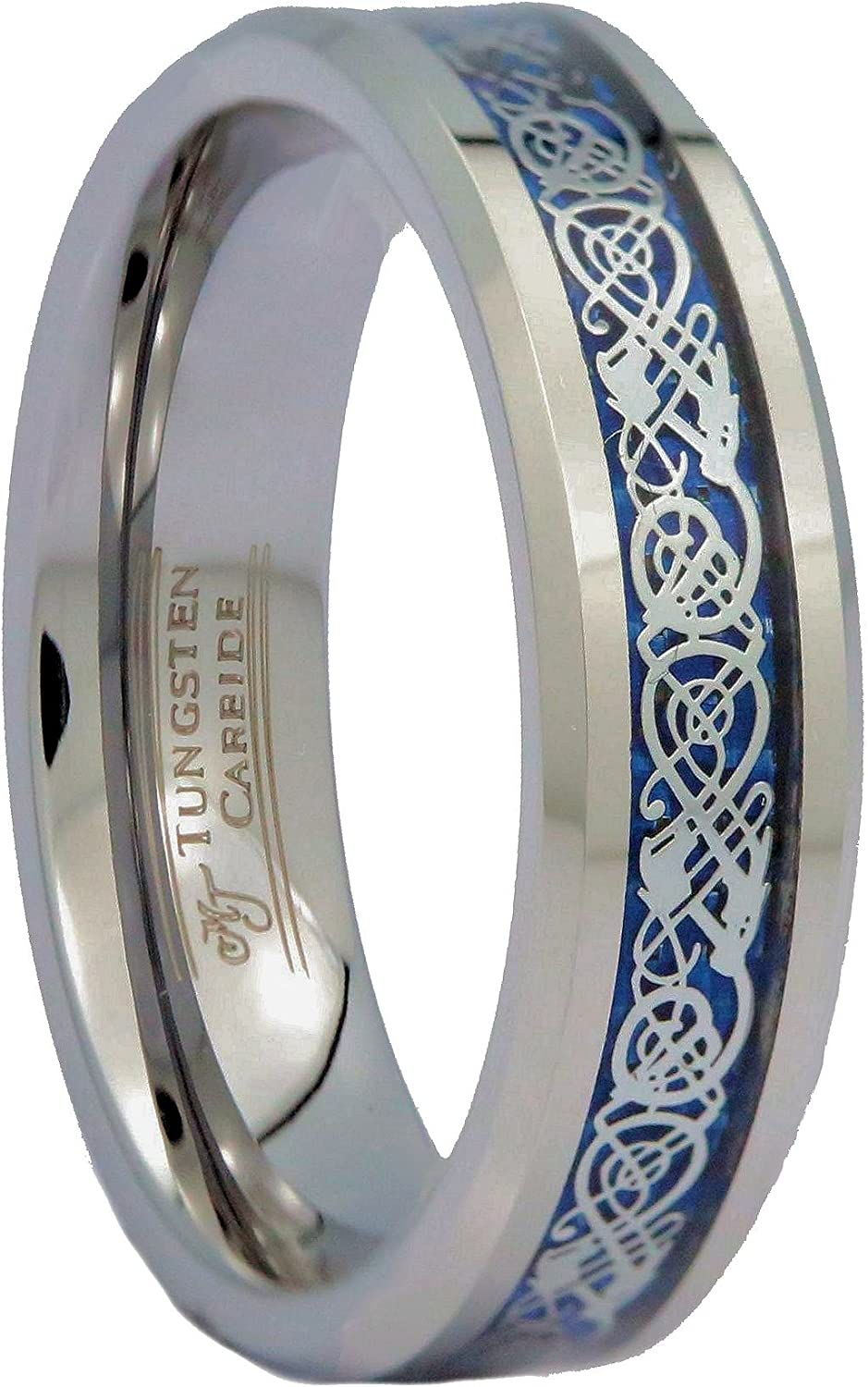 MJ Metals Jewelry Blue Celtic Dragon 6 or 8mm Men's/Women's Tungsten Carbide Wedding Band Ring