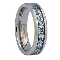 8mm Blue Celtic Dragon Men's/Women's Tungsten Carbide Ring Wedding Band