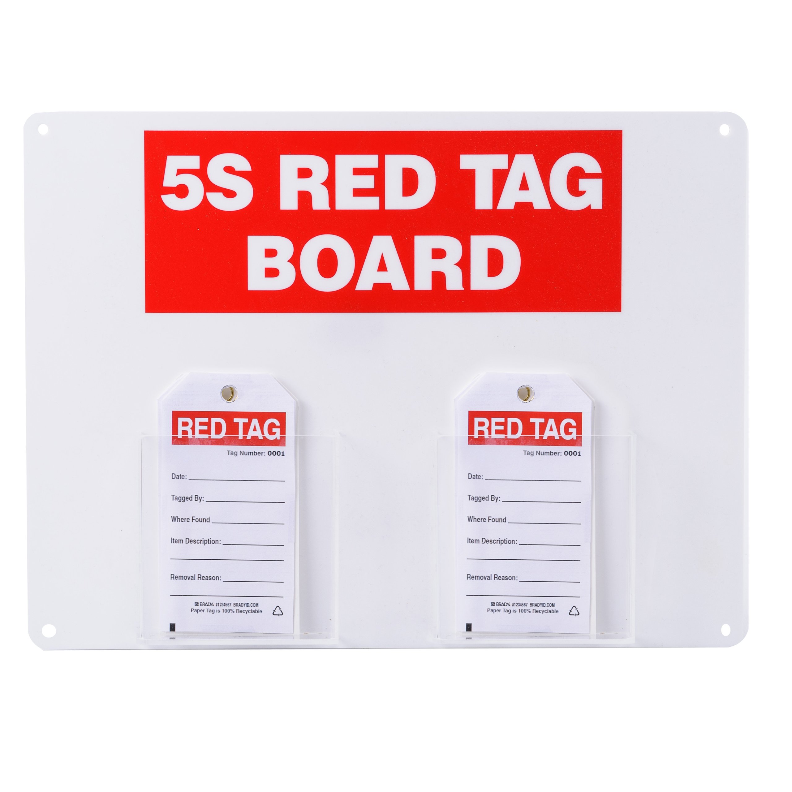 Brady 122054, Red on White 5S Red Tag board with 5.75'' H x 3'' W Tags (1 Kit)