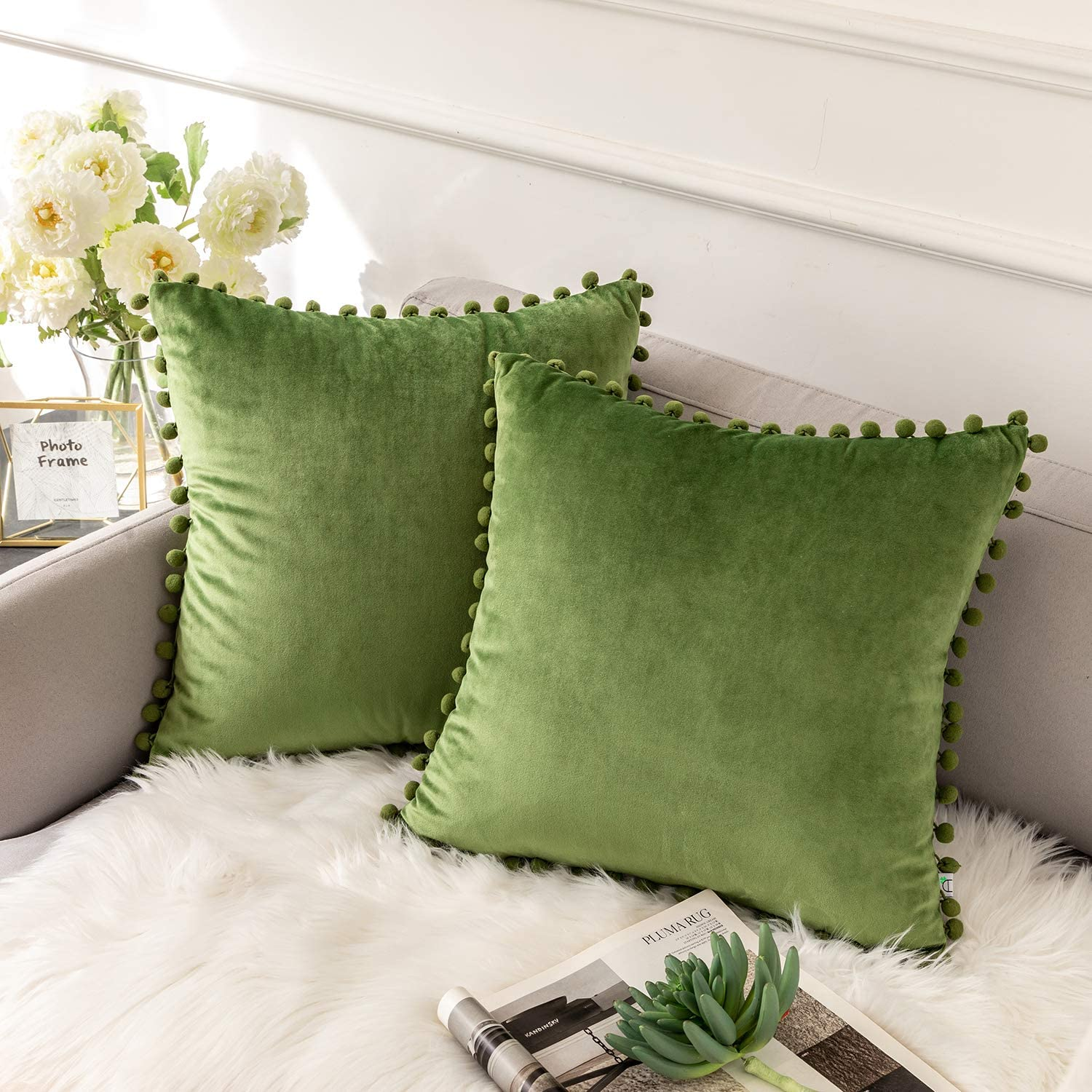 Ashler Throw Pillow Cases with Soft Pom Poms Velvet Plush Vibrant Elegant Cushion Covers, Pack of 2, Green 26 x 26 inches 66 x 66 cm