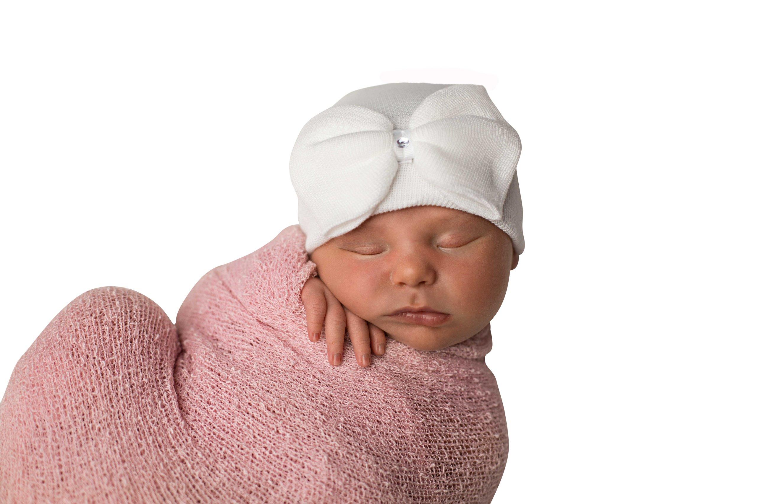 Melondipity's Big White Bow with Gem Baby Girl Newborn Hospital Hat
