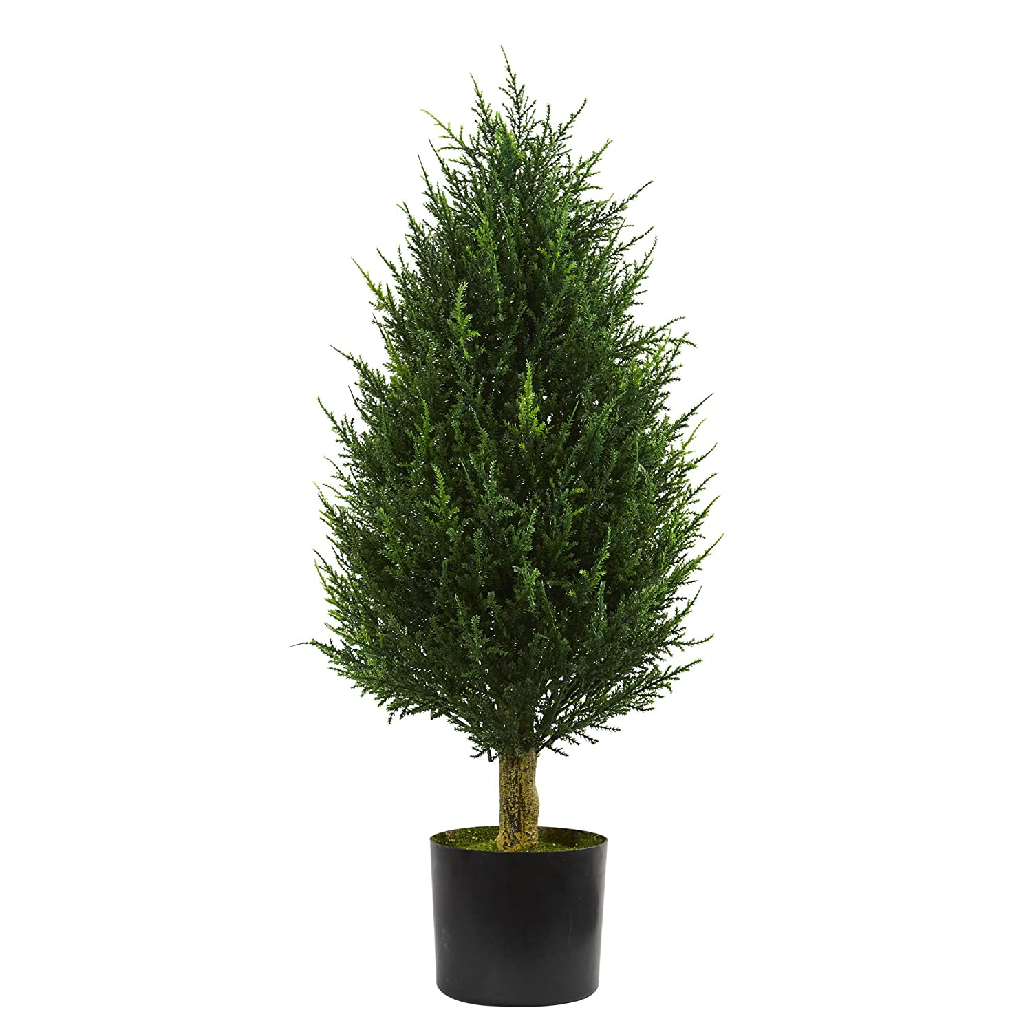 Nearly Natural 5526 3' Cypress Tower Artificial Tree UV Resistant (Indoor/Outdoor) 3 Green