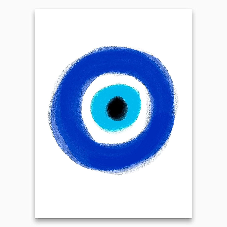 Amazon Com Evil Eye Protection Poster Magical Hamsa Print Turkish Evil Eye Protection Print Blue Watercolor Eye Painting Modern Wellness Home Decor Meditation Decor 12x16 Inches Unframed Handmade