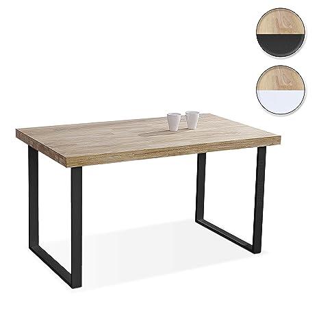 Mesa Comedor 140.Adec Natural Mesa De Comedor Mesa Salon Fija Color Roble Salvaje Y Negro Medidas 140 X 80 X 76 5 Cm De Alto