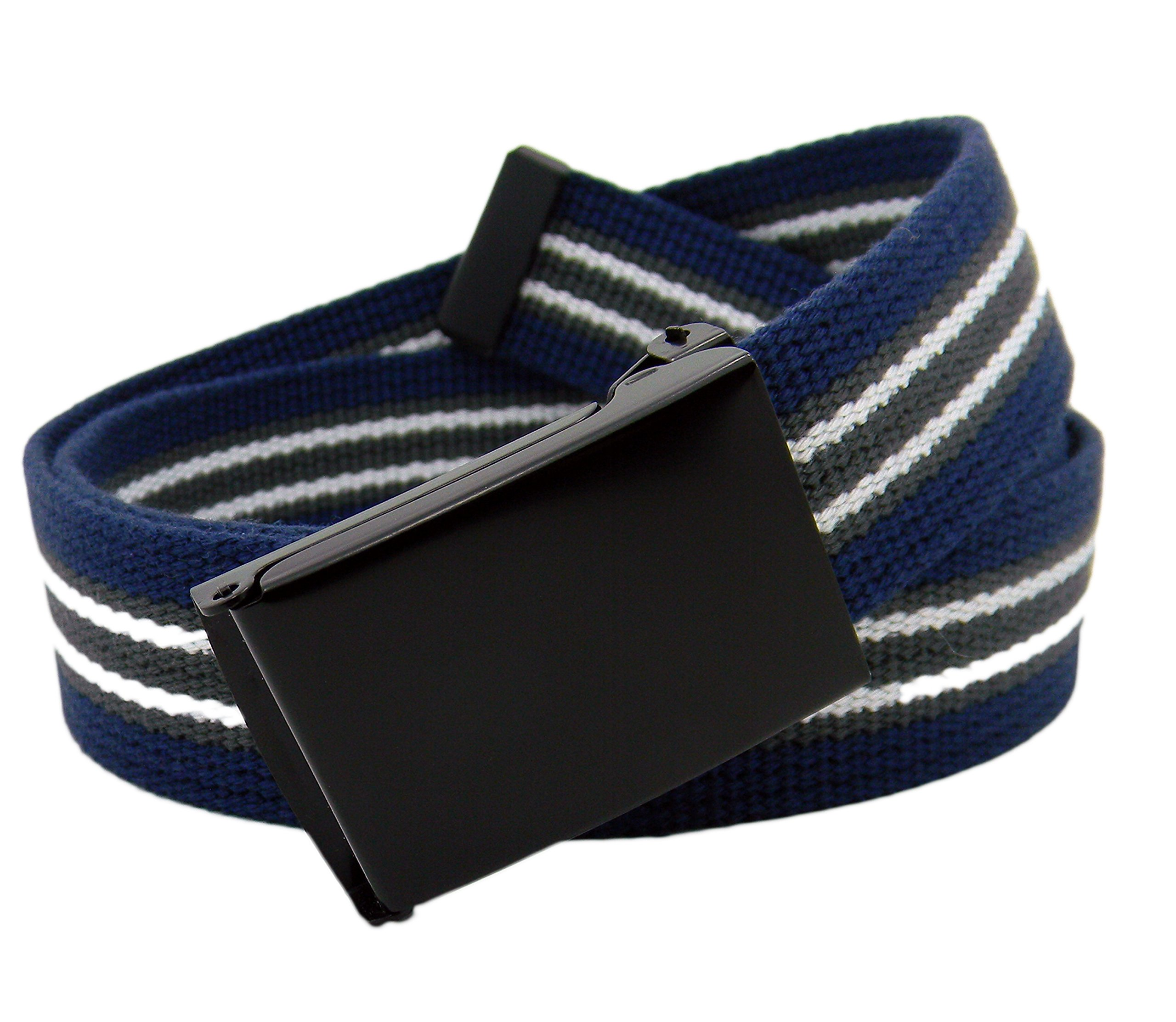 Women's Black Flip Top Military Belt Buckle with Canvas Web Belt XX-Large Navy Gray White