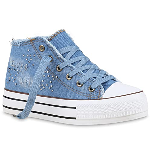 NEW DESIGN DAMEN SCHUHE 129826 SNEAKERS HELLBLAU 38