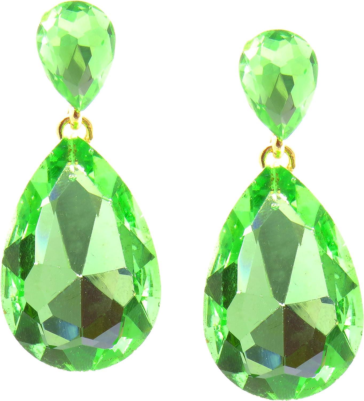 TEMPUS FUGIT. Pendientes Gotas duo, para mujer chapados en Oro con cristales de colores brillantes. Incluye una caja para regalo