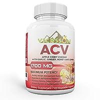 Vicksson Apple Cider Vinegar Pills 1700 mg of ACV with Garlic, Ginger, Lemon & Honey...