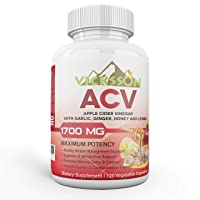 Vicksson Apple Cider Vinegar Pills 1700 mg of ACV with Garlic, Ginger, Lemon & Honey for Weight, Detox, Cleanse, Appetite, Blood Sugar, Bloating, Metabolism & Immune Support | 120 Capsules