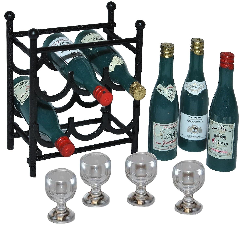 11 tlg. Set: Miniatur Weinregal aus Metall + 6 Flaschen Wein + 4 Weingläser - Flaschenregal - Getränk Limonade Saft Regal / Puppenhaus Puppenküche - Maßstab 1:12 - Puppenstube Zubehör Küche Weinflasche Kinder-land