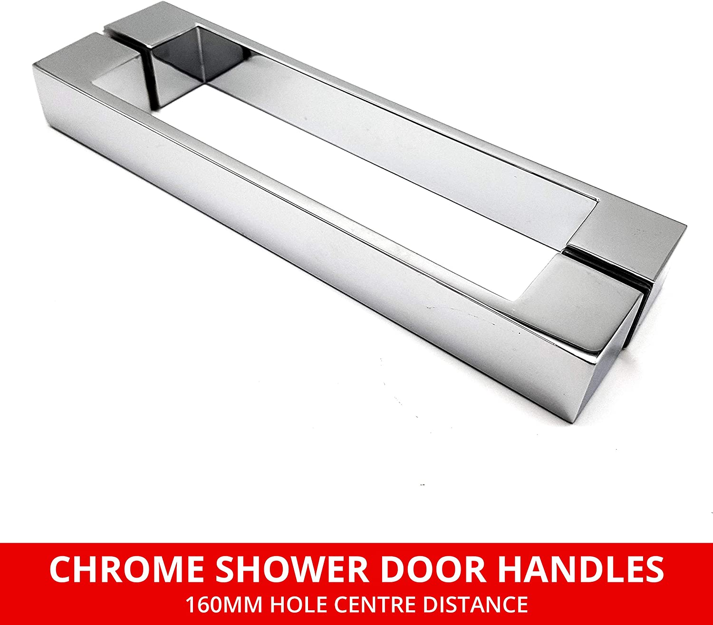 Par de manijas cromadas para puerta de ducha | 160 mm centros de ...