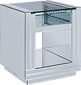 ACME Furniture End Table, Mirrored and Faux Crystals