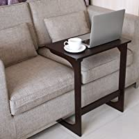 HOMFA Snack Table Sofa Couch Coffee End Table Bamboo Bed Side Table Laptop Desk Modern Furniture for Home Office, Retro Color
