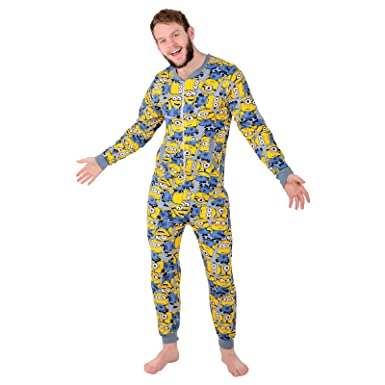 Despicable Me Mens Minion Sleepsuit Cotton Onesie Pyjama All in One  Nightwear XL  Amazon.co.uk  Clothing f61a52ace