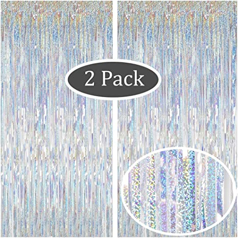 Shimmer Foil Glitter Tinsel Metallic Wedding Party Backdrop Curtain Window Door