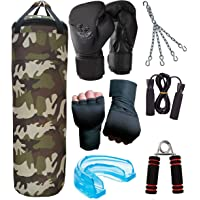 Byson Camouflage Tough Boxing Kit Set for Men's and Senior's Level (36inch Synthetic Leather Punching Bag, Chain, Hand Wrap Gloves and 14oz Boxing Gloves,Skiping Rope, Hand Grip,Mouthguard) Heavy Bag