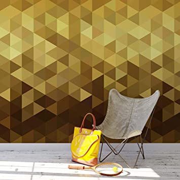 Buy Gold Poly Triangle Geometric Elegant Peel And Stick Wallpaper Removable Wall Mural 6209 9ft H X 4ft W Online At Low Prices In India Amazon In