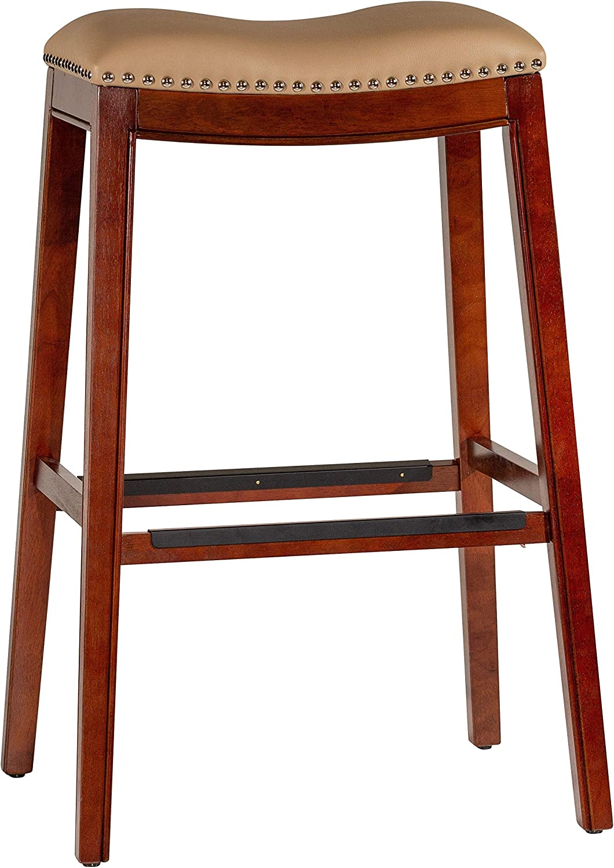 DTY Indoor Living Durango Bonded Leather Saddle Stool, 30 Bar Stool, Cherry Finish, Bone Leather Seat