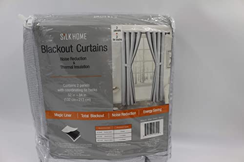 SILK HOME Blackout Curtains 2 Panels Harmony Silver