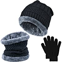 EAONE Winter Knit Beanie Hat and Neck Scarf Set with Gloves, Thick Warm Fleece Lining Knitted Cap Neck Warmer Gaiter for…