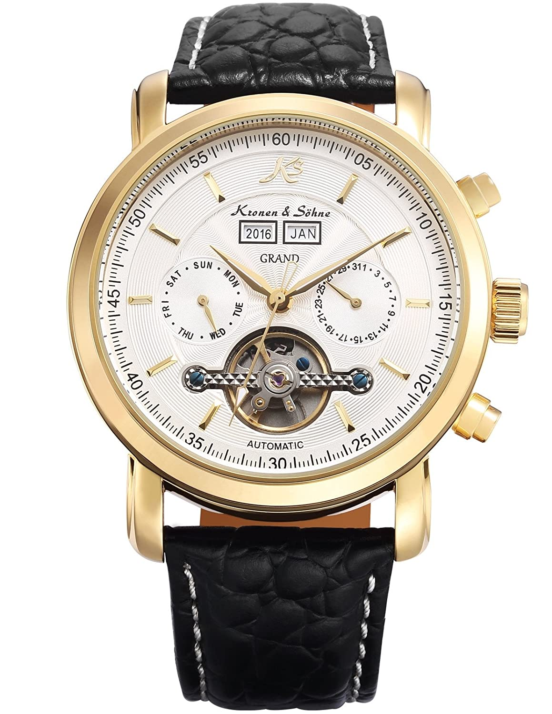 KS Herren Schwarze Mechanische Armbanduhr mit hÖlzerner Geschenbox KS371
